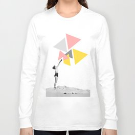 """""""Aiming Higher"""" Woman Collage Art based on Vintage Photos Long Sleeve T-shirt"""
