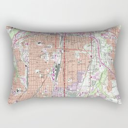 Vintage Map of Fort Worth Texas (1955) 2 Rectangular Pillow