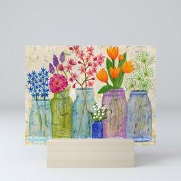 Springs Flowers in Old Jars Mini Art Print