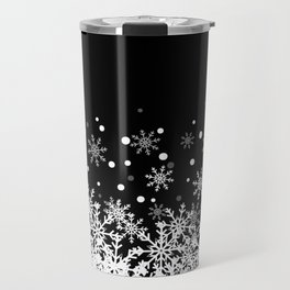 Snow Black Background Travel Mug