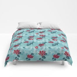 Pure zen waterlily pattern Comforters