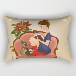 Girl with the book Rectangular Pillow