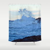 geology Shower Curtains featuring Exploding Surf  by DanByTheSea