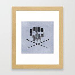 Knitted Skull (Black on Faded Periwinkle) Framed Art Print