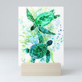Sea Turtles Underwater Scene Turquoise Blue design, bright blue green design Mini Art Print