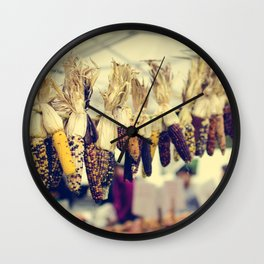Indian Corn at the Farmers Market Wall Clock