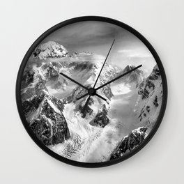 Denali Massif from the Air - Denali & Foraker Wall Clock
