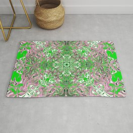 Pastel Pink and Green Pattern Rug