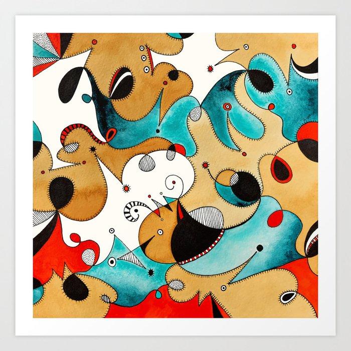 Abstract Tea Critters Art Print