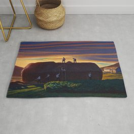Dan Wards Hay Stack, Heartland Sunset landscape painting by Rockwell Kent Rug
