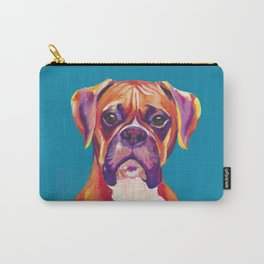 Boxer Face Blue boxer dog breed funny dog animals pets Carry-All Pouch