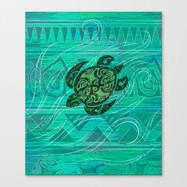 Teal Honu Turtle Print Canvas Print