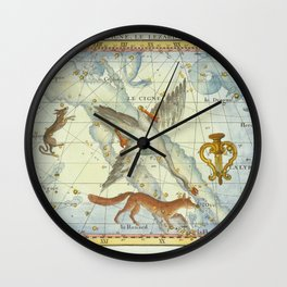 Vintage Print - J Flamsteed - Atlas Celeste (1776) - Lyra, Cygnus, Lacerta, Vupecula Wall Clock