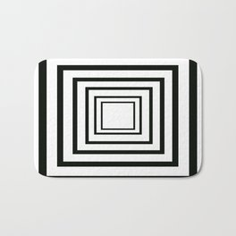 Concentric Squares Black and White Bath Mat