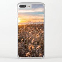 Golden light sunset summer hot sunset sicily island Clear iPhone Case