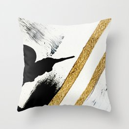 Armor [8]: a minimal abstract piece in black white and gold by Alyssa Hamilton Art Throw Pillow