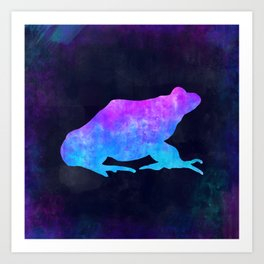 FROG IN SPACE // Animal Graphic Art // Watercolor Canvas Painting // Modern Minimal Cute Art Print