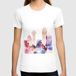 Watercolor Dallas skyline design T-shirt