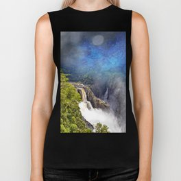 Wild waterfall in abstract Biker Tank