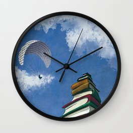 Paragliding - Mountain of Books Wall Clock
