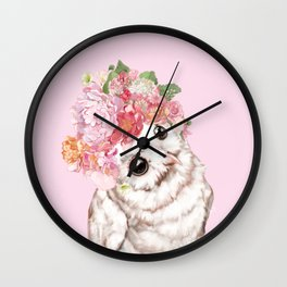 Snowy Owl with Flowers Crown Wall Clock