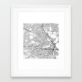 Cambridge Map, USA - Black and White Framed Art Print