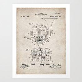 French Horn Patent - Horn Player Art - Antique Art Print