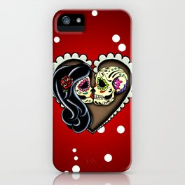 Ashes - Day of the Dead Couple - Kissing Sugar Skull Lovers iPhone Case