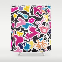 sticker Shower Curtains featuring Sticker Frenzy by XOOXOO