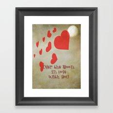 Over the Moon in Love Framed Art Print