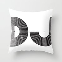 dj Throw Pillows featuring DJ by Jonah Makes Artstuff
