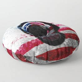 M1911 Colt 45 and American Flag on Distressed Metal Floor Pillow