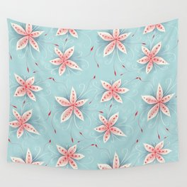 Beautiful Abstract Flowers In Red And White Wall Tapestry