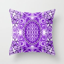 Purple Zentangle Tile Doodle Design Throw Pillow