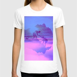 Friendship Mountain Colorful Surreal Nature Pink Blue T-shirt