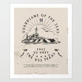 USS Texas Battleship, US Navy Art Print