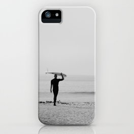 Surf Photography Print, Malibu California, Surf Art, Surf Decor, Black and White Print, Wall Art iPhone Case