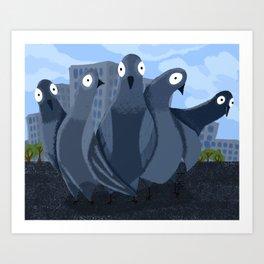 Serious pigeons Art Print