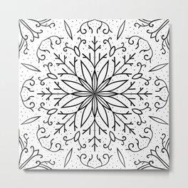 Single Snowflake - White Metal Print