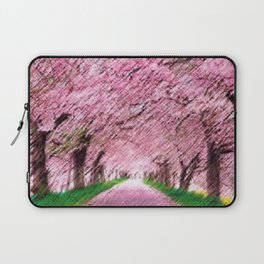 Cherry blossoms on an old New England back road landscape painting by Jéanpaul Ferro Laptop Sleeve