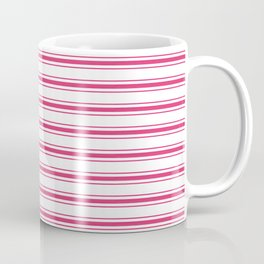 Bright Pink Peacock Mattress Ticking Wide Striped Pattern - Fall Fashion 2018 Coffee Mug