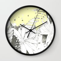 botanical Wall Clocks featuring Botanical by rosanna corfe