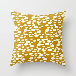 Monstera Leaf Hole Pattern - mustard yellow Throw Pillow