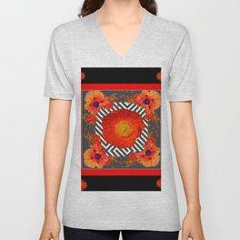 CLASSIC YELLOW-RED POPPIES GARDEN BLACK ART Unisex V-Neck