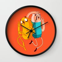 finn Wall Clocks featuring Finn & Jake by Daniel Mackey