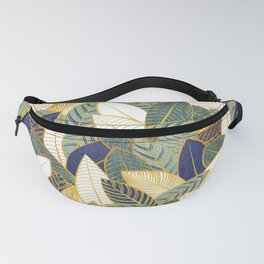 Leaf wall // navy blue pine and sage green leaves golden lines Fanny Pack