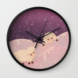 Cartoon Baby Sheep, Red Violet Snowy Bokeh Background Wall Clock