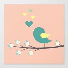 bird on branch pink Canvas Print