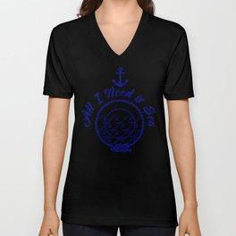 All I Need is Sea - Navy Blue on White Unisex V-Neck