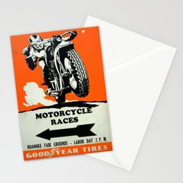 Motorcycle Races - Vintage Poster Stationery Cards